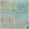 55048 การ์ดแต่งงานสี่เหลี่ยมจัตุรัส 3 พับลายดอกไม้ มีสีครีมกับสีชมพู