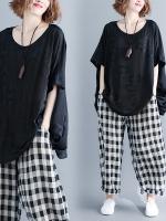 JY25913#เสื้อOversizeสไตล์เกาหลี เสื้อโอเวอร์ไซส์แต่งลายแนวๆ อก*100ซม.ขึ้นไปประมาณ40-42นิ้วขึ้น