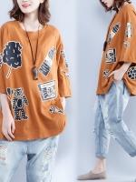 JY25924#เสื้อOversizeสไตล์เกาหลี เสื้อโอเวอร์ไซส์แต่งลายแนวๆ อก*100ซม.ขึ้นไปประมาณ40-42นิ้วขึ้น