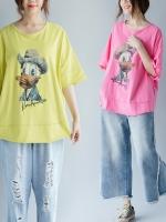 JY25899#เสื้อOversizeสไตล์เกาหลี เสื้อโอเวอร์ไซส์แต่งลายแนวๆ อก*100ซม.ขึ้นไปประมาณ40-42นิ้วขึ้น