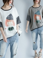 JY25900#เสื้อOversizeสไตล์เกาหลี เสื้อโอเวอร์ไซส์แต่งลายแนวๆ อก*100ซม.ขึ้นไปประมาณ40-42นิ้วขึ้น