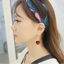 ต่างหู,ตุ้มหูแฟชั่นสไตล์เกาหลีรูปหัวใจกำมะหยี่สีแดงแต่งมุก
