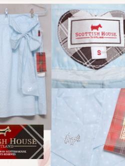 กระโปรงแฟชั่นแบรนด์ SCOTTISH HOUSE สีฟ้าลายจุด ไซส์ S