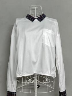 เสื้อเชิ้ตสีขาวแต่งปก-ปลายแขนลายสก็อต