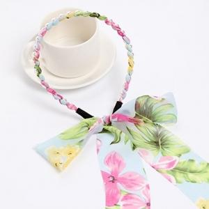 ที่คาดผมผ้าชีฟองยาวลายดอกไม้สีชมพูฟ้าแต่งมุก