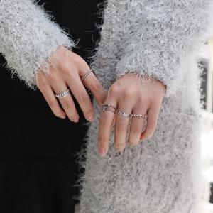 แหวนแฟชั่นเงินs925สองชั้นเกลียวและเรียบแต่งคริสตัลใส