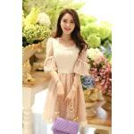 **สินค้าหมด Dress3851-โทนสีชมพู ชุดเดรสทรงสวยอกลูกไม้สวยหรู แขนสามส่วนระบาย ผ้าชีฟองเนื้อดีเกรดพรีเมี่ยม