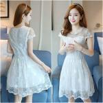 Dress4072-Size-S เดรสลูกไม้ลายสวยสีขาวสุดคลาสสิค มีซิปหลังใส่ง่าย งานดีทรงดีใส่สวย