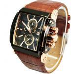 นาฬิกาข้อมือ ผู้ชาย สายหนังแท้ สีน้ำตาล ผสมผสาน ทอง สีขายดี ลายหนังจรเข้ มีระบบ Calendar ดูวันที่ได้ หน้าจอ สี่เหลี่ยม ของขวัญให้แฟน สุดหรู 873321_3