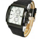 นาฬิกาข้อมือ ผู้ชาย สายหนังแท้ สีขาว ลายหนังจรเข้ มีระบบ Calendar ดูวันที่ได้ หน้าจอ สี่เหลี่ยม คลาสสิค ของขวัญสำหรับผู้ใหญ่ สุดหรู 873321_1