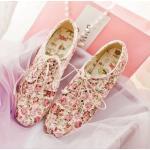รองเท้าหุ้มส้น ผู้หญิง สไตล์วินเทจ ลายดอกกุหลาบทั้งคู่ เข้ากับ ชุดเดรส หวาน ๆ รองเท้าส้นแบน สไตล์เกาหลี แบบน่ารัก สีชมพู 179931