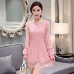 **สินค้าหมด Dress3887-Size-XL-สีชมพู ชุดเดรสทรงสวยแขนยาว ผ้าลูกไม้เนื้อนิ่ม มีซับในอย่างดี
