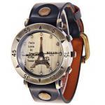 นาฬิกาข้อมือ ผู้หญิง สายหนังแท้ สีดำ หอไอเฟล สไตล์ วินเทจ