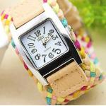 นาฬิกาข้อมือสายหนังถัก งาน Handmade สไตล์วินเทจ นาฬิกาข้อมือผู้หญิง แฟชั่นเก๋ ๆ สีเบจ น้ำตาลอ่อน no 201419