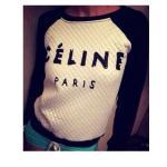เสื้อยืดผู้หญิง แขนยาว เสื้อยืด แฟชั่น CELINE Paris ตัวเสื้อ สีขาว ส่วนแขน ตัดด้วย สีดำ เสื้อยืดคอกว้าง แขนยาว แฟชั่น ยุโรป 163899_1