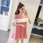 **สินค้าหมด Dress4157-Size-2XL-สีแดง / เดรสทรงปล่อยเว้าไหล่แต่งระบายสีขาวช่วงอก ผ้าคอตตอนลายริ้วเนื้อดีนุ่มใส่สบาย งานสวยใส่ง่ายน่ารักมาก