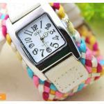 นาฬิกาข้อมือสายหนังถัก งาน Handmade สไตล์วินเทจ นาฬิกาข้อมือผู้หญิง แฟชั่นเก๋ ๆ สีขาว ลดราคา no 201419_2