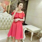 Dress3933-สีแดงปูน เดรส+เข็มขัด ชุดเดรสทรงปล่อย เว้าไหล่แต่งระบาย พร้อมเข็มขัดเข้าชุด ผ้าคอตตอนผสมโพลีเอสเตอร์สีพื้นเนื้อดีหนาสวยมีน้ำหนัก