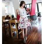 Set_bs1578-Size-XL ชุด 2 ชิ้น(เสื้อ+กระโปรง) เสื้อชีฟองแขนผ้าไหมแก้วลายดอกไม้สีพื้นขาวครีม กระโปรงซิปหลังผ้าซาตินซิลค์เนื้อหนาสวยลายดอกไม้พื้นสีครีม
