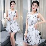 **สินค้าหมด Dress4004-Size-XXL ชุดเดรสทรงสวยลายดอกไม้สีพื้นขาว ผ้าชีฟองเนื้อดีเกรดพรีเมียมมีน้ำหนักทิ้งตัวสวย