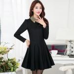 Dress4199-Size-XL-สีดำ / ชุดเดรสแขนยาวทรงสวย คอปกสีทองแต่งเพชรลายสวยวิ้งๆ ซิปหลัง ช่วงเอวเข้ารูป กระโปรงบาน ผ้าเนื้อหนาเรียบสวยมีน้ำหนัก