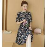 **สินค้าหมด Dress3914-Size-L-สีกรม ชุดเดรสยาวเอวสม็อคยางยืด มีกระดุมคอหลังใส่ง่าย ผ้าไหมอิตาลีลายดอกไม้เล็กๆ ผ้าเนื้อดีนุ่มใส่สบาย