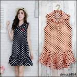 Dress3484-สีส้มอ่อน ชุดเดรสน่ารักคอปกเชิ้ตชายระบาย ผ้าไหมอิตาลีเนื้อนิ่มลายจุด งานน่ารักผ้าเนื้อดีใส่สบาย