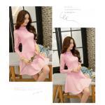 Dress3977-Size-XL-สีชมพู ชุดเดรสทรงสวย แขนยาวลูกไม้เนื้อนุ่ม ผ้าเนื้อโฟมหนานิ่มมีน้ำหนักทิ้งตัวสวย