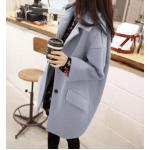 Size : M เสื้อโค้ทกันหนาว ทรงเก๋ ไม่เหมือนใคร สีฟ้าอ่อน ผ้าสำลี มีซับใน พร้อมส่ง