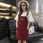 Dress4056-Size-XL-สีเลือดหมู / ชุดเอี๊ยมกระโปรงผ้ายีนส์ลูกฟูกเนื้อดีทรงสวย สายปรับความยาวได้ มีกระเป๋าหน้าและข้าง