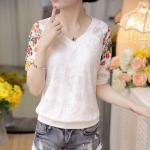 Blouse3683-Size-L-สีขาว / เสื้อแฟชั่นผ้าลูกไม้มีซับในแขนปักลายดอกไม้ ผ้าลูกไม้เนื้อดีเกรดพรีเมียมยืดได้นิดหน่อย