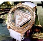 นาฬิกาข้อมือ ผู้หญิง สายหนัง หน้าปัด Guess ประดับเพชร สีขาว no 49255
