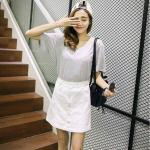 Skirt308-Size-M-สีขาว กระโปรงยีนส์ทรงเอ กระดุมหน้า ผ้ายีนส์แท้เนื้อดีแบบนุ่ม งานน่ารักแมทช์กับเสื้อได้หลายแบบ