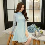 Dress3884-Size-XXL-สีฟ้า ชุดเดรสทรงสวยโทนสีพาสเทล แขนยาวลูกไม้เนื้อนุ่ม ตัดเย็บด้วยผ้าเนื้อโฟมหนานิ่มมีน้ำหนักทิ้งตัวสวย