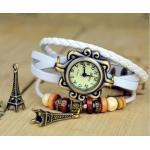 นาฬิกาข้อมือ ผู้หญิง นาฬิกาสายหนังถัก สไตล์สร้อยข้อมือ วินเทจ สีขาว ห้อย ตุ้งติ้ง หอไอเฟล กรุงปารีส no 76509_1