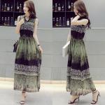 Dress3760-Size-XL ชุดเดรสยาวสไตล์วินเทจโทนสีเขียว ทรงคอจีน เอวสม็อค ผ้าชีฟองเนื้อนุ่มมีน้ำหนักทิ้งตัว