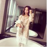 **สินค้าหมด Dress3753-Size-L งานนำเข้าสไตล์เกาหลี Sweater Dress ชุดเดรสแขนยาวผ้าไหมพรมถักนิดติ้งชายลูกไม้ สีครีม