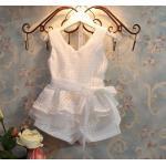 ชุดเสื้อกางเกง เด็กผู้หญิง ใส่ออกงาน เก๋ ๆ ผ้าซีฟอง สีขาว และ สีม่วง ดอกลาเวนเดอร์ ชุดออกงาน เด็ก แฟชั่น เสื้อแขนกุด กางเกง ติดโบว์ 865251