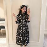 Dress4116-Size-L ชุดเดรสยาวทรงสวย คอปกเชิ้ต กระดุมหน้าครึ่งตัว แขนยาวจัมพ์ปลายแขน เอวสม็อคยางยืด ผ้าโพลีเนื้อดีเกรดพรีเมียมลายดอกไม้ขาวพื้นสีดำ