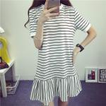 **สินค้าหมด Dress4126-Size-L-สีขาว / เดรสแขนสั้นทรงปล่อยชายระบาย ผ้าคอตตอนลายริ้วเนื้อดีหนานุ่มยืดขยายได้เยอะ