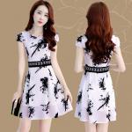**สินค้าหมด Dress4156-Size-XL เดรสทรงสวยเอวลูกไม้ ซิปข้างใส่ง่าย มีซับในอย่างดีทั้งชุด ผ้าชีฟองเนื้อดีหนาสวยลายกราฟฟิคโทนสีขาวดำ