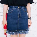Skirt301-Size-XL กระโปรงแฟชั่นผ้ายีนส์ยืดเนื้อดีสียีนส์เข้ม ซิปหน้า กระเป๋าข้าง ตัดแต่งชายรุ่ยเก๋ๆ