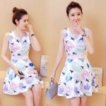 **สินค้าหมด Dress4111-Size-XL เดรสน่ารักพิมพ์ลายวงกลมกราฟฟิค เอวเข้ารูป มีซิปหลังใส่ง่าย ผ้าซาตินซิลค์เนื้อดีหนาสวย
