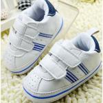 รองเท้าผ้าใบ เด็กเล็ก เด็กผู้ชาย เด็กผู้หญิง รองเท้าเด็ก สีขาว หนา นุ่ม ใส่สบาย แถบเปิดปิด 2 แถบ แน่นหนา มีช่องระบายอากาศ แถบคาดน้ำเงิน 14301_4