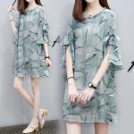**สินค้าหมด Dress4190-Size-3XL เดรสทรงปล่อยแขนระบายแต่งโบว์ ผ้าชีฟองเนื้อดีทึบแสงลายกราฟฟิคโทนสีเขียว งานดีทรงดีผ้านุ่มใส่สบาย