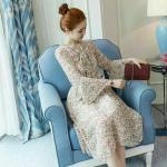 Dress4090-Size-3XL Maxi Dress แม็กซี่เดรสยาวลายดอกไม้พื้นสีครีม เอวสม็อคยางยืด คอผูกโบว์ แขนยาวระบาย