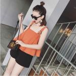 **สินค้าหมด Set_bp1553-Size-L-สีส้ม+ดำ / ชุดเซ็ท 2 ชิ้น(เสื้อ+กางเกง) เสื้อกล้ามทรงวงกลมชายบานแต่งสายบ่าหัวเข็มขัด กางเกงขาสั้น ผ้าฮานาโกะเนื้อดี