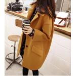 L : เสื้อโค้ทกันหนาว ทรงเก๋ ไม่เหมือนใคร สีเหลืองหม่น ผ้าสำลี มีซับใน พร้อมส่ง