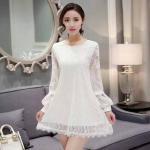 Dress3887-Size-XXL-สีขาว ชุดเดรสทรงสวยแขนยาว ผ้าลูกไม้เนื้อนิ่ม มีซับในอย่างดี
