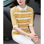 Blouse3679-สีเหลือง / เสื้อไหมพรมเนื้อนุ่มลายริ้วสลับสีขาว คอปก มีกระดุมคอหลังใส่ง่าย งานถักเนื้อแน่นสวยผ้านุ่มใส่สบายยืดขยายได้เยอะ